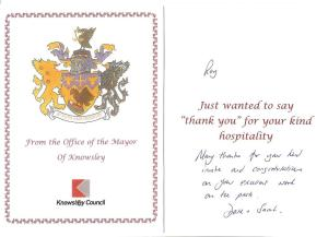 Mayoral thank you card