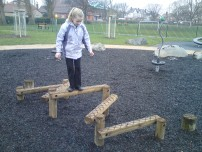 Ellen trying out the new zig zag beams