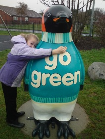 Ellen giving Go Green a Big Hug