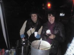 rachel and fiona serving mulled wine