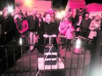 Rev Gillian Rossiter setting off the Fireworks at Meols Park